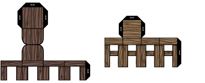 3D papercraft chair and stool